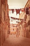 Old Venetian yard.Photo in old color image style. Royalty Free Stock Image
