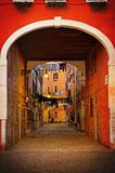 Old Venetian yard, Italy.Photo in old color Stock Image