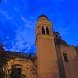 Old venetians church at night. Corfu city Stock Photos