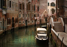 Old Venice. Old canal in Venice retouched as oil painting stock photography
