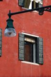 Old Venice house and street lantern,Italy stock photo