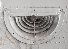 Old ventilation grille. On military aircraft Stock Image