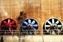 Old ventilators at steel plant Royalty Free Stock Image