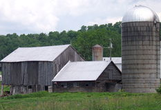 An Old Vermont Barn. A very weathered and aged barn in Vermont still stands tall and strong from the barns to the silos for storage and shelter against the Royalty Free Stock Image