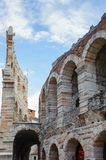 Old Verona, Italy, UNESCO World Heritage. VERONA, ITALY - JUN 26, 2014: Verona Arena (Arena di Verona), a Roman amphitheatre in Piazza Bra in Verona, Italy. It stock photography