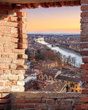 Old Verona town, view through brickwall window Royalty Free Stock Images