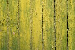 Old vertical planks painted green yellow copyspace Royalty Free Stock Photography