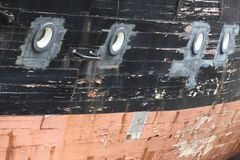Old vessel hull stock image