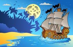 Old vessel at night near beach. Illustration Royalty Free Stock Photos
