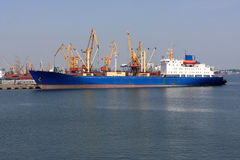 Old vessel in port of Odessa Stock Photography