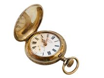 Old vest-pocket watch. Old watch, dial, on white basis Stock Images