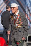 Old veteran of World War II near tribunes Stock Photography