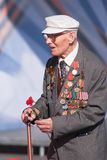 Old veteran of World War II near tribunes Stock Photos