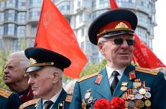 Old veterans come to celebrate Victory Day in commemoration of Soviet soldiers who died during Great Patriotic War,Odessa,Ukraine. ODESSA,UKRAINE - MAY 9:Old Royalty Free Stock Image