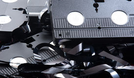 Old VHS tapes ripped apart Royalty Free Stock Photos