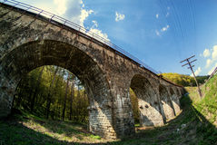Old viaduct in Ukraine. Old viaduct in western Ukraine Ternopil region builded by austrians stock photo