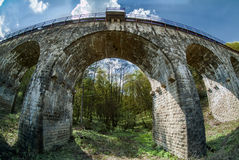 Old viaduct in Ukraine. Old viaduct in western Ukraine Ternopil region builded by austrians stock images