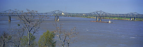Old Vicksburg Bridge crossing MS River in Vicksburg, MS to Louisiana royalty free stock images