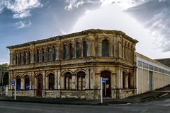 Old victorian architecture building in Oamaru, New Zealand royalty free stock image