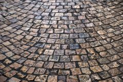 Old victorian cobblestone street background texture semi circle pattern Royalty Free Stock Images
