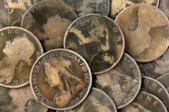 Old Victorian English Pennies. Old worn English Victorian pennies stock photography