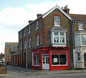 Old victorian era period buildings in kent. Photo of old victorian buildings in whitstable kent showing four seasons chinese takeaway food shop may 2018 Stock Photography