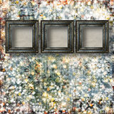 Old Victorian frames on the abstract winter background Stock Photo