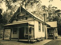 Old Victorian home. Historic double storey weatherboard home from pioneer days in Australia royalty free stock photos