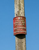 Old Victorian telegraph sign Stock Photography