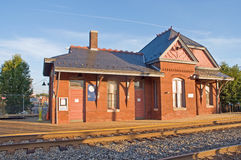 Old Victorian train station. An old Victorian Era train station and platform, still in use as a commuter rail station.  Laurel, Maryland Royalty Free Stock Image