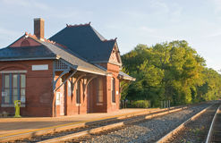 Old Victorian train station. An old Victorian Era train station and platform, still in use as a commuter rail station.  Laurel, Maryland Stock Image