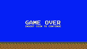 Old Video Arcade Platform Game Over on a Blue Screen. Animation stock illustration