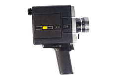 Old video camera isolated on white. Retro vintage video 8mm camera Royalty Free Stock Photo