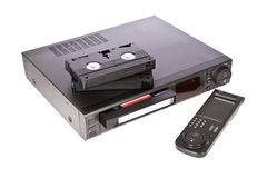 Old Video Cassette Recorder and tapes Stock Images