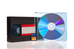 Old Video Cassette tape, with a DVD disc and Flash. Memory Card isolated on white background Royalty Free Stock Photo