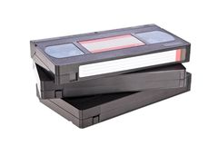 Old Video Cassette tapes. Isolated on white background royalty free stock photo