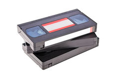 Old Video Cassette tapes. Isolated on white background stock images