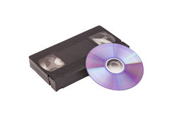 Old Video Cassette tapes with DVD disc royalty free stock photography