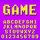 Old pixel video game alphabet font template. Old video game alphabet font template. Set of letters and numbers pixel design. Vector illustration Royalty Free Stock Photography