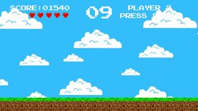 Old Video Game Screen from the 1980`s Era stock video footage