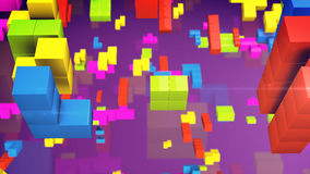 Old video game square tetris. Colored line bricks game pieces. 3d rendering Stock Photography