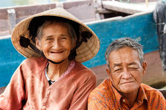 Old Vietnamese couple smiling Royalty Free Stock Images