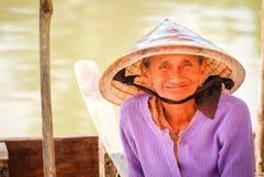 Old Vietnamese Woman at Hoi An, Vietnam stock image