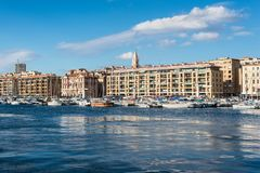 Old Vieux Port in Marseilles, France. Marseille, France - December 4, 2016: The historic harbor Old Vieux Port and the boats in center of Marseilles, Provence Royalty Free Stock Photography