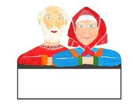 Old vigorous and healthy seniors woman grandmother and man grandfather over the frame with a copy space inside for your text about vector illustration