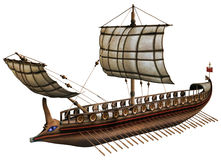 Old viking boat. 3D render of an old wooden viking boat Stock Image