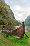 Old viking boat in Norway Stock Photo