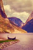 Old viking boat in Norway Royalty Free Stock Photo