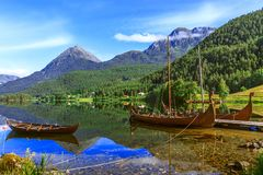 Old Viking Boats Replica In A Norwegian Landscape Royalty Free Stock Images