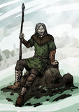 Old viking sitting on a rock Royalty Free Stock Photography